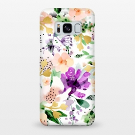 Galaxy S8+  Violet by Uma Prabhakar Gokhale (watercolor, pattern, violet, purple, floral, flowers, blossom, tropical, exotic, gold, golden, faux gold, bloom, botanical, nature, blush)