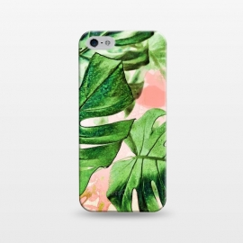 iPhone 5/5E/5s  Monstera Beauty  by Uma Prabhakar Gokhale (watercolor, monstera, exotic, nature, rain, tropical, botanical, leaves, blush, pink, green, greenery)