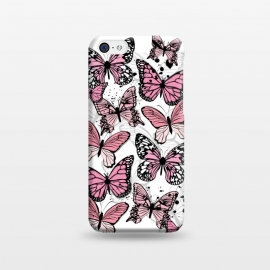 iPhone 5C  Stylish Pink Butterflies by Martina (animal, nature,butterfly,pink ,feminine,modern,stylish,pretty,girlie,cute,sweet,butterflies)