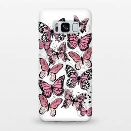 Galaxy S8+  Stylish Pink Butterflies by Martina (animal, nature,butterfly,pink ,feminine,modern,stylish,pretty,girlie,cute,sweet,butterflies)