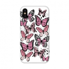 iPhone X  Stylish Pink Butterflies by Martina (animal, nature,butterfly,pink ,feminine,modern,stylish,pretty,girlie,cute,sweet,butterflies)