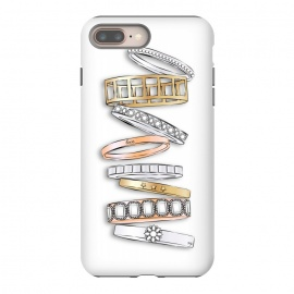 iPhone 8/7 plus  Stack of Brand Designer Bracelets by Martina (pile of bracelets,stack of bracelets,fashion,designer,brand,illustration, jewelry,jewellery,accessories,gold,silver,modern,stylish,pretty,feminine, fashionable,girlie,eye candy)
