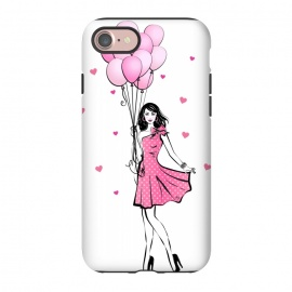 iPhone 8/7  Girl with balloons by Martina (fashion, fashionable, stylish, modern, feminine, pretty, girlie, art,artwork, illustration, drawing, woman, girl,balloons,pink,cute,sweet, gift for her,brunette)
