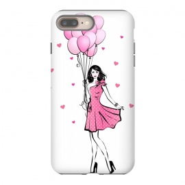 iPhone 8/7 plus  Girl with balloons by Martina (fashion, fashionable, stylish, modern, feminine, pretty, girlie, art,artwork, illustration, drawing, woman, girl,balloons,pink,cute,sweet, gift for her,brunette)