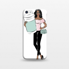 iPhone 5C  Girl with a big coffee cup by Martina (fashion, fashionable, stylish, modern, feminine, pretty, girlie, art,artwork, illustration, drawing, woman, girl, gift for her,coffee,drink,tea,african american,latino,dark skin,arabic,indian,ethnic,cup,boss,boss babe,girl boss,boss girl)