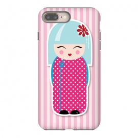 iPhone 8/7 plus  Kokeshi doll by Martina (fashion, fashionable, stylish, modern, feminine, pretty, girlie, art,artwork, illustration, drawing, woman, girl, gift for her,cute, sweet,kokeshi,doll,pink)