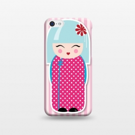 iPhone 5C  Kokeshi doll by Martina (fashion, fashionable, stylish, modern, feminine, pretty, girlie, art,artwork, illustration, drawing, woman, girl, gift for her,cute, sweet,kokeshi,doll,pink)
