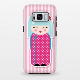 Galaxy S8+  Kokeshi doll by Martina (fashion, fashionable, stylish, modern, feminine, pretty, girlie, art,artwork, illustration, drawing, woman, girl, gift for her,cute, sweet,kokeshi,doll,pink)