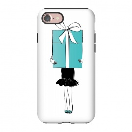iPhone 8/7  Big Gift girl by Martina (fashion, fashionable, stylish, modern, feminine, pretty, girlie, art,artwork, illustration, drawing, woman, girl, gift for her,gift, present,big, surprise,birthday,mint, turquise, tiffany,blue,tiffany 's blue)