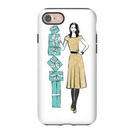 iPhone 8/7  Attractive young Woman with gifts by Martina (fashion, fashionable, stylish, modern, feminine, pretty, girlie, art,artwork, illustration, drawing, woman, girl, gift for her,gift,present,tiffany,turquise,tiffany's blue,box,elegant,chic)