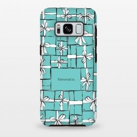 Galaxy S8 plus  Tiffany Gift Box by  (fashion, fashionable, stylish, modern, feminine, pretty, girlie, art,artwork, illustration, drawing, woman, girl, gift for her,tiffany,gift,present,box,tiffany's blue,turquise,tiffany's ,bow, ribbon,stack,pile)