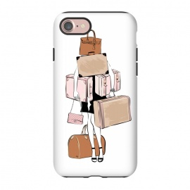 iPhone 8/7  Woman with luggage by Martina (fashion, fashionable, stylish, modern, feminine, pretty, girlie, art,artwork, illustration, drawing, woman, girl, gift for her,travel,travelling, wanderlust,luggage,bag,bags,handbag,carrier,suitcase,traveling,holiday,travel blogger)