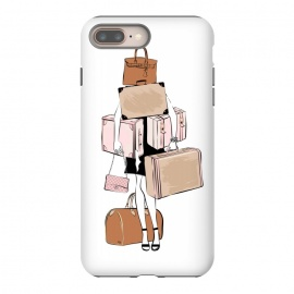 iPhone 8/7 plus  Woman with luggage by Martina (fashion, fashionable, stylish, modern, feminine, pretty, girlie, art,artwork, illustration, drawing, woman, girl, gift for her,travel,travelling, wanderlust,luggage,bag,bags,handbag,carrier,suitcase,traveling,holiday,travel blogger)