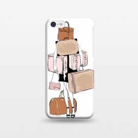iPhone 5C  Woman with luggage by Martina (fashion, fashionable, stylish, modern, feminine, pretty, girlie, art,artwork, illustration, drawing, woman, girl, gift for her,travel,travelling, wanderlust,luggage,bag,bags,handbag,carrier,suitcase,traveling,holiday,travel blogger)