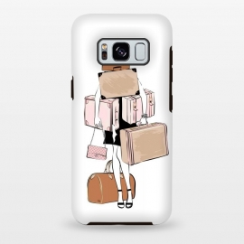 Galaxy S8+  Woman with luggage by Martina (fashion, fashionable, stylish, modern, feminine, pretty, girlie, art,artwork, illustration, drawing, woman, girl, gift for her,travel,travelling, wanderlust,luggage,bag,bags,handbag,carrier,suitcase,traveling,holiday,travel blogger)