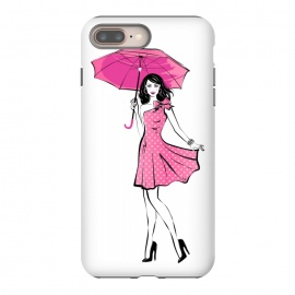 iPhone 8/7 plus  Pretty girl with umbrella by Martina (fashion, fashionable, stylish, modern, feminine, pretty, girlie, art,artwork, illustration, drawing, woman, girl, gift for her,umbrella, pink,happy,figure,body,dress,polka dots)