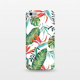 iPhone 5/5E/5s  A New Paradise by Uma Prabhakar Gokhale (graphic design, watercolor, pattern, tropical, bird of paradise, exotic, nature, botanical, floral, orange, green, white, blue, blossom, bloom)