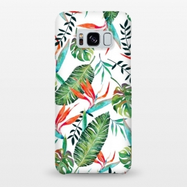 Galaxy S8+  A New Paradise by Uma Prabhakar Gokhale (graphic design, watercolor, pattern, tropical, bird of paradise, exotic, nature, botanical, floral, orange, green, white, blue, blossom, bloom)