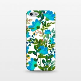 iPhone 5/5E/5s  Blue by Uma Prabhakar Gokhale (graphic design, pattern, blue, teal, floral, flowers, nature, botanical, blossom, bloom, green, exotic, tropical)