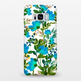 Galaxy S8+  Blue by Uma Prabhakar Gokhale (graphic design, pattern, blue, teal, floral, flowers, nature, botanical, blossom, bloom, green, exotic, tropical)