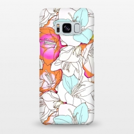 Galaxy S8+  Early Bloomer by Uma Prabhakar Gokhale (graphic design, pattern, floral, nature, line art, ink drawing, blossom, flowers, exotic, pink, orange, coral, white, mint, bloom)