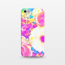 iPhone 5/5E/5s  Nostalgia by Uma Prabhakar Gokhale (graphic-design, digital, pattern, floral, exotic, nature, flowers, blossom, nostalgia, vintage, bloom, botanical, garden, pink, yellow)