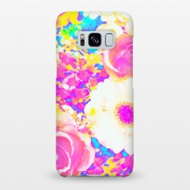 Galaxy S8+  Nostalgia by Uma Prabhakar Gokhale (graphic-design, digital, pattern, floral, exotic, nature, flowers, blossom, nostalgia, vintage, bloom, botanical, garden, pink, yellow)