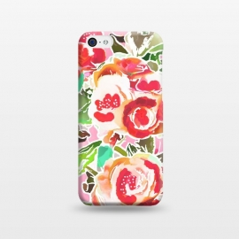 iPhone 5C  Always in Bloom by Uma Prabhakar Gokhale (graphic design, pattern, blossom, floral, red, flowers, nature, exotic, beautiful, pretty, green, rose, roses)