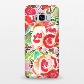 Galaxy S8+  Always in Bloom by Uma Prabhakar Gokhale (graphic design, pattern, blossom, floral, red, flowers, nature, exotic, beautiful, pretty, green, rose, roses)