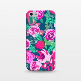 iPhone 5/5E/5s  Royal Roses by Uma Prabhakar Gokhale (graphic design, pattern, floral, flowers, nature, blue, pink, blossom, leaves, green, bloom, red, exotic, botanical, rose, roses)