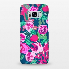 Galaxy S8+  Royal Roses by Uma Prabhakar Gokhale (graphic design, pattern, floral, flowers, nature, blue, pink, blossom, leaves, green, bloom, red, exotic, botanical, rose, roses)