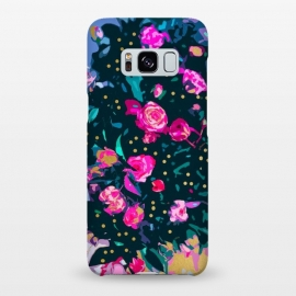 Galaxy S8+  Lovely Secret by Uma Prabhakar Gokhale (graphic design, floral, dark, nature, exotic, roses, rose, flowers, abstract, bloom, blossom, pink, black, gold, green, blue)