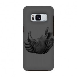 Galaxy S8  Horn Up by Branko Ricov (horn,Rhinoceros,rhino,thumb up, thumbs up, thumbup,horn up,hornup,save rhino,hand,man and rhino,beautiful,cool,animal,drawing)