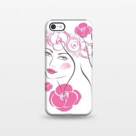 iPhone 5C  Pink Rose Lady by Martina