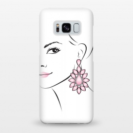 Galaxy S8+  Earring Lady by Martina (woman, girl, face, lady, portrait, pink, minimalistic, simple, modern, stylish, femimine, girlie, pretty, beauty,for her,fashionable,earring, accessory)