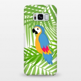 Galaxy S8+  Cute colourful parrot by Martina (parrot, bird, animal,coloruful,jungle, exotic,modern, stylish, fashion, for her,sweet,cute,nature,leaves,palm,illustration,custom,original, unique,green)