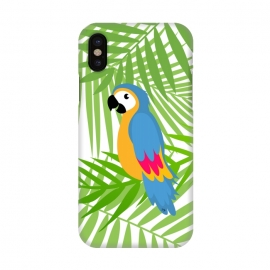 iPhone X  Cute colourful parrot by Martina (parrot, bird, animal,coloruful,jungle, exotic,modern, stylish, fashion, for her,sweet,cute,nature,leaves,palm,illustration,custom,original, unique,green)