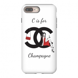 iPhone 8/7 plus  Chanel Champagne by Martina (chanel,champagne, drink,alcohol,woman, girl, lady, red,stylish, modern, feminine, girlie, for her,illustration, original, unique,gift,fashion illustration,handbag,happy,beautiful,pretty,dark hair,long hair,typography)