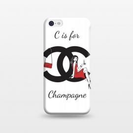 iPhone 5C  Chanel Champagne by Martina (chanel,champagne, drink,alcohol,woman, girl, lady, red,stylish, modern, feminine, girlie, for her,illustration, original, unique,gift,fashion illustration,handbag,happy,beautiful,pretty,dark hair,long hair,typography)