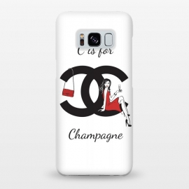 Galaxy S8+  Chanel Champagne by Martina (chanel,champagne, drink,alcohol,woman, girl, lady, red,stylish, modern, feminine, girlie, for her,illustration, original, unique,gift,fashion illustration,handbag,happy,beautiful,pretty,dark hair,long hair,typography)