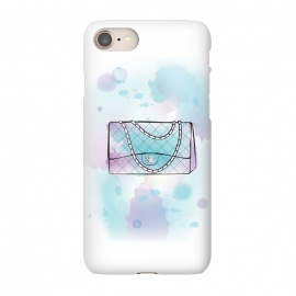 iPhone 8/7  Watercolour Chanel handbag by Martina (designer, brand,luxury, exclusive,modern, stylish, feminine, girlie, fashion, bag, handbag,chanel,for her,blue, watercolour, artsy,artwork,original, unique)