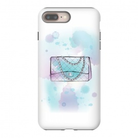 iPhone 8/7 plus  Watercolour Chanel handbag by Martina (designer, brand,luxury, exclusive,modern, stylish, feminine, girlie, fashion, bag, handbag,chanel,for her,blue, watercolour, artsy,artwork,original, unique)