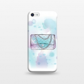 iPhone 5C  Watercolour Chanel handbag by Martina (designer, brand,luxury, exclusive,modern, stylish, feminine, girlie, fashion, bag, handbag,chanel,for her,blue, watercolour, artsy,artwork,original, unique)