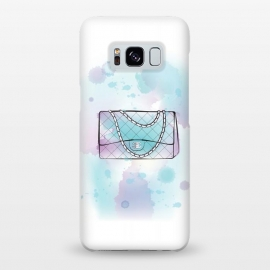 Galaxy S8+  Watercolour Chanel handbag by Martina (designer, brand,luxury, exclusive,modern, stylish, feminine, girlie, fashion, bag, handbag,chanel,for her,blue, watercolour, artsy,artwork,original, unique)