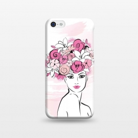 iPhone 5C  Flower Crown Girl by Martina (girl, woman, lady, face, portrait,pretty, beauty, hair,flowers, floral, rose, pink,crown,flower crown,watercolour,feminine, girlie, for her, illustration, fashion illustration, nature)