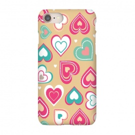 iPhone 8/7  Love Hearts by Martina (pattern, abstract, modern, stylish, original, feminine, girlie,unique,illustration, heart, love, passion,colourful,geometric)