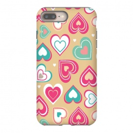 iPhone 8/7 plus  Love Hearts by Martina (pattern, abstract, modern, stylish, original, feminine, girlie,unique,illustration, heart, love, passion,colourful,geometric)
