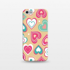 iPhone 5/5E/5s  Love Hearts by Martina (pattern, abstract, modern, stylish, original, feminine, girlie,unique,illustration, heart, love, passion,colourful,geometric)