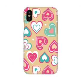 iPhone X  Love Hearts by Martina (pattern, abstract, modern, stylish, original, feminine, girlie,unique,illustration, heart, love, passion,colourful,geometric)