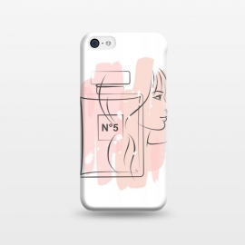 iPhone 5C  Chanel Perfume by Martina (pink, feminine, girlie, for her, gift, pretty, girl, lady, face, portrait, beauty,perfume, fragnrace, chanel, no5,illustration, modern, stylish,woman)